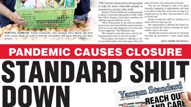 Front page of the 145-year-old Yarram Standard