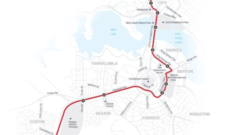 A map of the ACT government's preferred stage two light rail route through Parkes and Barton