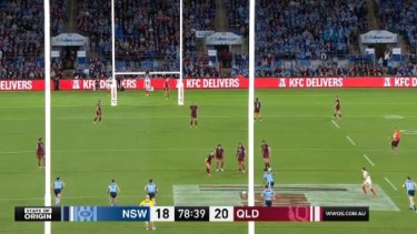Daly Cherry-Evans encroaches on Latrell Mitchell taking late penalty in Origin 3.