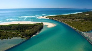 The scene: The Bellinger River mouth at Urunga, where Gallagher was attacked.