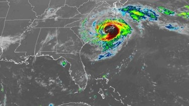 Hurricane Florence as it approached the US East Coast on Friday night Australian time.