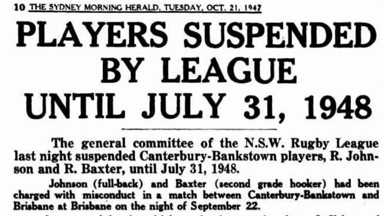 Two Canterbury players were suspended until July 31, 1948.