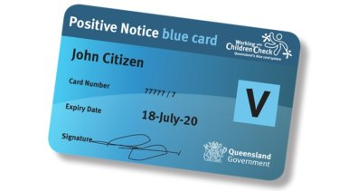 A Queensland government-issued Blue Card.