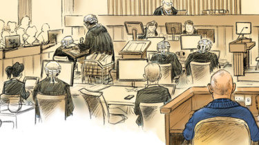 David Pope's courtroom illustration of the David Eastman retrial.