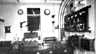 The Titanic's communications room, which contained the coveted Marconi wireless.