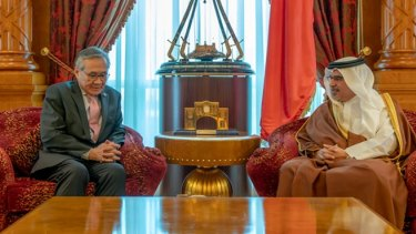 Thai Foreign Minister Don Pramudwinai meets Bahrain's crown prince on February 10, the day before the announcement Hakeem al-Araibi would be freed.