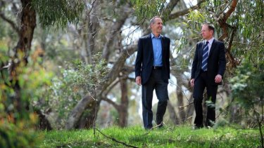 Influential Greens figures Bob Brown and Shane Rattenbury.
