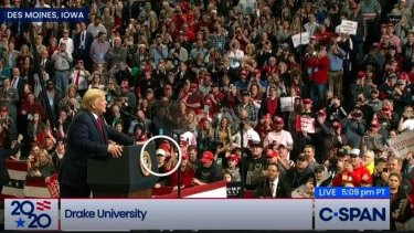 The Trump rally in Des Moines, Iowa in January. Rittenhouse's face is circled.