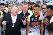 Phil Gould talking to the club's reserve grade side, including a young Jarome Luai (right of Gould) after the 2017 State Championships final against PNG Hunters.