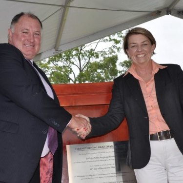 Then mayor Steve Jones opens the new Grantham with then premier Anna Bligh on December 10, 2011.