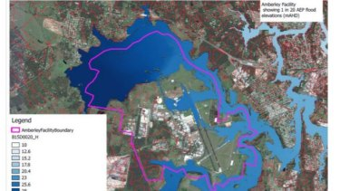 This map shows how RAAF Base Amberley is impacted by floodwaters from the Bremer River River and Warrill Creek.