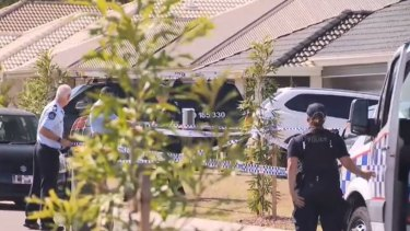 The crime scene in Gleneagle south of Brisbane where a father died from a gunshot wound to his leg.