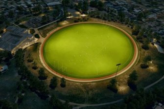 An artist's impression of the floodlit oval.