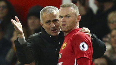 Wayne Rooney with his then manager at Manchester United, Jose Mourinho, in 2017.