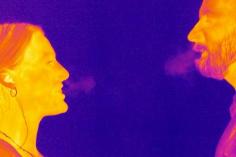 The camera mapped the partial path of the nearly invisible particles we exhale