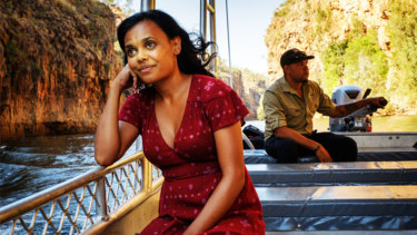 Miranda Tapsell, on a romcom road trip, journeys down  Katherine's Nitmiluk Gorge.