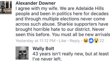 A screenshot of Alexander Downer's Facebook post in the Adelaide Hills chat group.