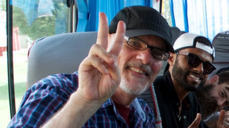 Sydney University lecturer Tim Anderson, left, and former tutor Jay Tharappel during their recent trip to North Korea.