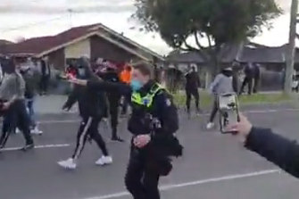 Video footage posted online of the clash with police at Dandenong.