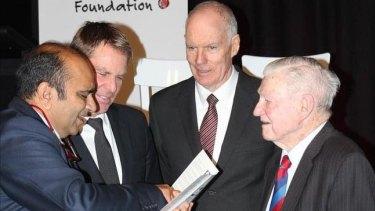 Darshak Mehta, Shane Warne, Greg Chappell and Neil Harvey at a Chappell Foundation fundraiser.