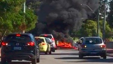 A stolen Ferrari has burst into flames, killing one occupant, in North Perth.