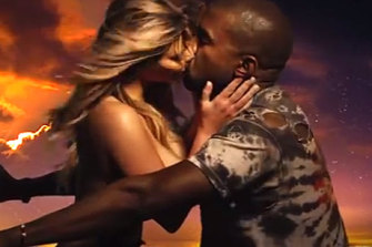 Happier times. Kanye West and Kim Kardashian in the Bound 2 video clip.
