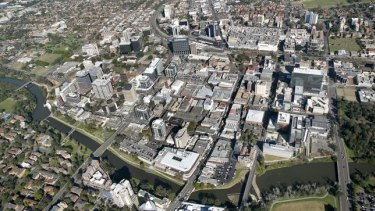 An aerial view of the Parramatta CBD in Sydney's west.