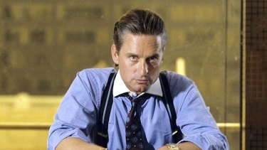 Macho man: Banker Gordon Gekko (played by Michael Douglas) in the 1987 Oliver Stone film Wall Street.