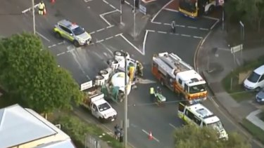 A truck rollover has caused delays at Greenslopes on Friday.