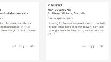 Advertisements for prospective sperm donors on thecoparents.comwebsite.