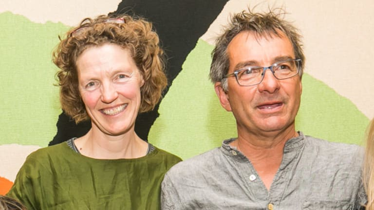 Willy Hall (right), with his wife Lucy, said his architect father would not have condoned advertising on the Sydney Opera House.