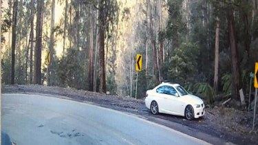 Mr Whitlock's white car at Mount Buller Road.