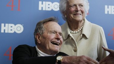Former US president George H.W. Bush and his wife Barbara.