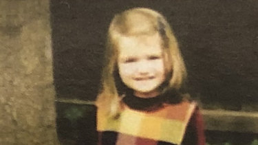 Courtney as a little girl, pictured in the memorial booklet handed to mourners at her funeral.