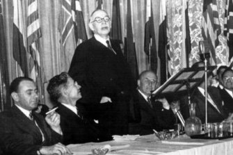 History in the making: A picture released by the International Monetary Fund shows British economist Lord John Maynard Keynes addressing the Bretton Woods Conference in July 1944.