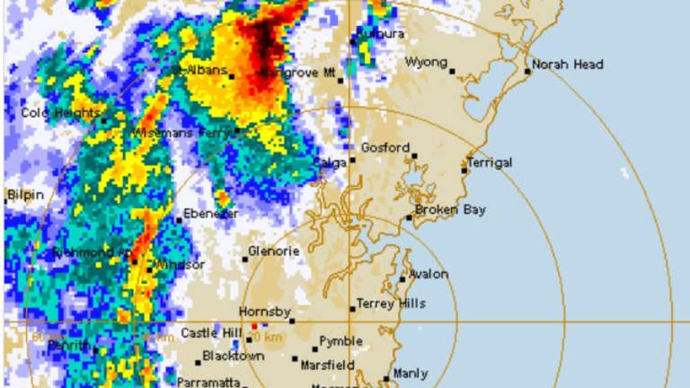 Thunderstorms approaching Sydney's metropolitan area on Friday, before being downgraded.