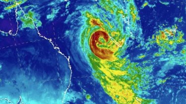 Tropical Cyclone Oma's size as shown by satellite images.