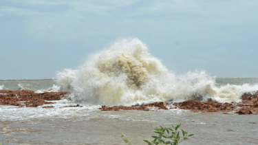 The tide beginning to rise in Port Hedland on Friday.