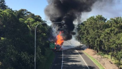 Traffic delays on Princes Motorway after 36,000-litre fuel tanker catches fire