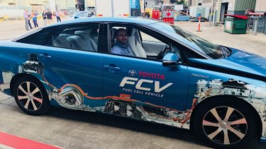 CSIRO scientists take a hydrogen-powered car for a test drive.