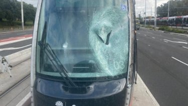The tram that broke down near Moore Park on Tuesday.