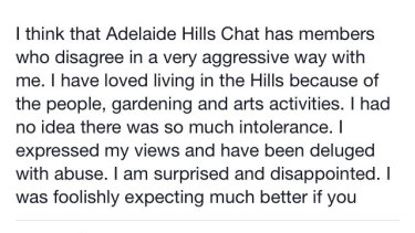 A screenshot of Nicky Downer's Facebook post in the Adelaide Hills chat group.