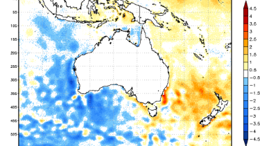 Sea temperatures are up to three degrees warmer than average off the NSW coast in the week of May 19, 2019.