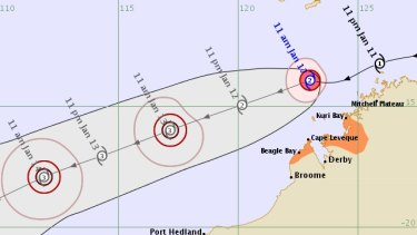 Tropical cyclone Claudia became a category 2 in open waters northwest of Kimberleyon Sunday.