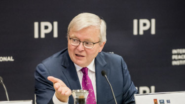 Kevin Rudd at the International Peace Institute in September 2019.