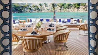 "The ""alfresco theme"" sun deck aboard Packer's redundant gin palace."