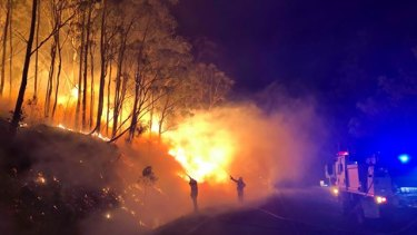 Image taken at the Cunninghams Gap fire in Queensland's Scenic Rim on Thursday.