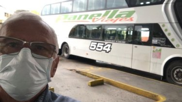 Mr Basso in Argentina on his way to a humanitarian flight home.