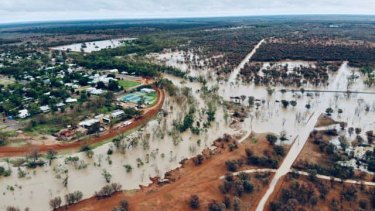 Floodwaters at Bollon, about 100 kilometres west of St George.