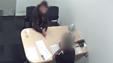 Australian Border Force officials interrogate one of the Spanish Gypsy Jokers associates.